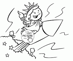 the funny little statue of liberty coloring page for kids