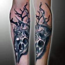 forearm deer skull tattoo designs for guys hunting tattoos