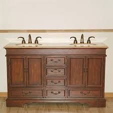 60 In Bathroom Vanity Double Sink Shop Silkroad Exclusive Ashley Red Chestnut Undermount Double Sink