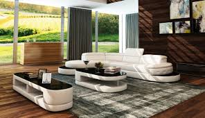 Modern White Leather Sectional Sofa by Casa 5125 Modern White U0026 Black Bonded Leather Sectional Sofa