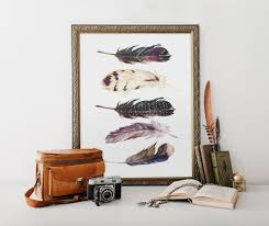 watercolor feather decor tribal watercolor feather wall art