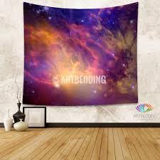 Home Decor Stars Galaxy Tapestry 3d Cosmos Purple Nebula With Stars Wall Tapestry