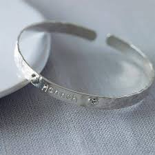 customized baby bracelets personalised sterling silver christening bangle by kemp