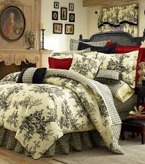 Tan And Black Comforter Sets Toile Black And Cream Bedspreads Curtain 4pc Thomasville Bouvier