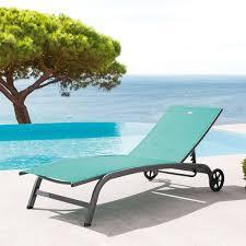 chaise longue hesperide transat nagua émeraude graphite hespéride 1 place