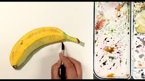 how to paint a banana in watercolor in simple steps