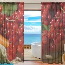Sheer Door Curtains Sheer Door Curtain Panels W55x L78 Inch W55xl84 Inch Currants Red
