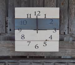 white and grey pallet wood clock rustic wall clock primitive