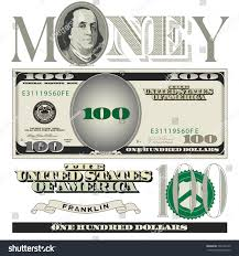 miscellaneous 100 dollar bill elements stock vector 246426160