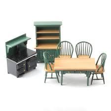 Dolls House Kitchen Furniture Df897 Green Kitchen Set Online Dolls House Superstore