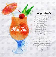 cocktail clipart mai tai cocktail watercolor with recipe and ingredients vector
