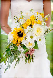 wedding flowers sunflowers bouquet of sunflowers roses daisies asters flag hill winery