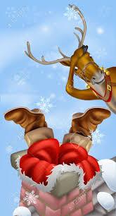 humorous christmas drawing of santa claus stuck in a chimney