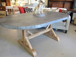 Rustic Oval Dining Table Zinc Topped Dining Table With Rustic Oval Zinc Top Dining Table