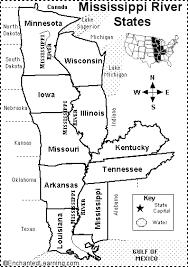 louisiana state map key mississippi river states map quiz printout enchantedlearning