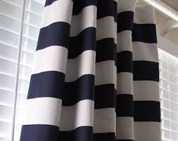 Blue And Striped Curtains Striped Curtains Etsy