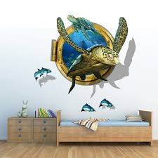 fange diy removable 3d fake window sea turtle swimming art mural fange diy removable 3d fake window sea turtle swimming art mural vinyl waterproof wall stickers living