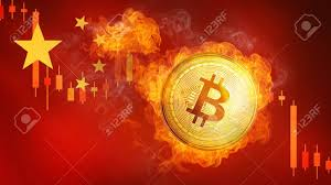 Burning Red Flag Golden Bitcoin Coin On China Flag In Fire Is Falling Burning