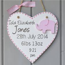 Baby Plaques Pink Birth Details Plaque