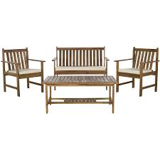 Acacia Wood Outdoor Furniture Durability by Amazon Com Safavieh 4 Piece Outdoor Collection Burbank Patio Set