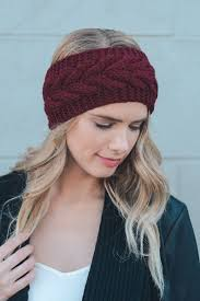 burgundy headband cable knit crochet headband