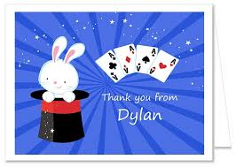 magic themed birthday party thank you note cards
