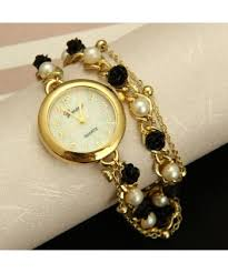 watches with chain bracelet images Fashion imitation pearl and rose chain bracelet watch ladies dress jpg