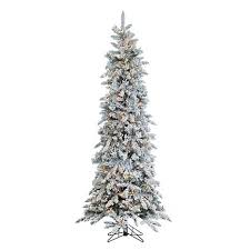 sterling 7 1 2 narrow flocked pencil pine lighted tree