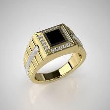 mens ring mens ring model with black onyx 002 cgtrader
