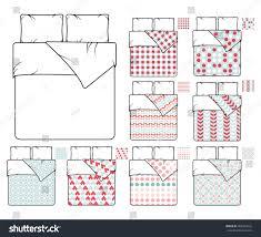 bedding linen template sample patterns set stock vector 408949552