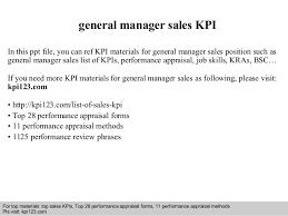 general manager sales kpi