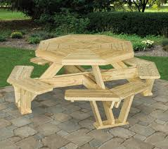 Red Cedar Octagon Walk In Picnic Table by Treated Pine Octagon Walk In Picnic Table With Octagon Picnic