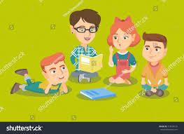 kindergarten floor plan layout caucasian teacher sitting on floor children stock vector 713438125