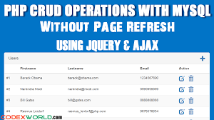 Mysql Delete From Table Php Crud Operations Without Page Refresh Using Jquery Ajax Mysql