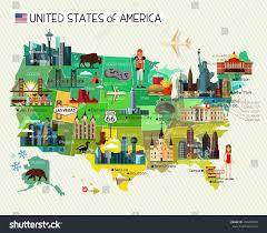 Hollywood Usa Map by Map United States America Travel Icons Stock Vector 494280406