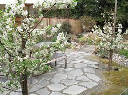 flagstone patio ideas patio asian with ornamental grass wood fence