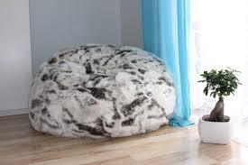 Faux Fur Bean Bag Chairs Furniture Black And White Faux Fur Bean Bag Placed On