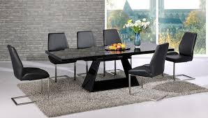 Extendable Black Glass High Gloss Base Dining Table And  Chairs - Black dining table for 8