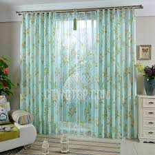 Teal Living Room Curtains Decorative Living Room Curtain In Blue Color Printed With Leaf Pattern