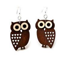 owl earrings laser cut owl wooden earrings sunburst reflections