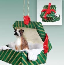 boxer brindle dog christmas gift box ornament holiday present xmas