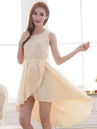 Apricot Color Lady Fashion Pure Color Asymmetrical Hem Apricot Sleeveless Dress