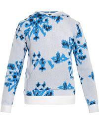 baja east tribal graffiti hooded cashmere sweater in blue for men