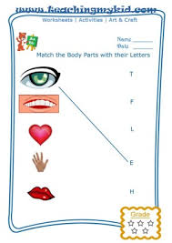 free worksheets match body parts with first letter of name 1