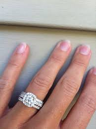 cushion halo engagement ring with two wedding bands but i want
