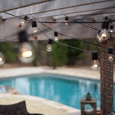 outdoor hanging patio lights 54 u0027 commercial patio string with 24 a15 clear outdoor patio lights