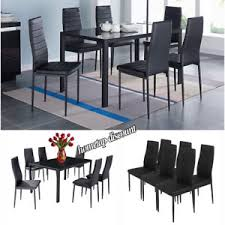 Glass Dinner Table Dining Set Black Glass Dinner Table And 6 Fx Leather Chairs Seater