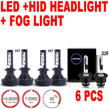 3set led high low beam headlight u0026 fog light bulb combo h7 u0026 d2r