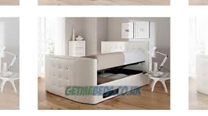 White Ottoman Bed by Atlantis White Leather Ottoman Tv Bed Youtube