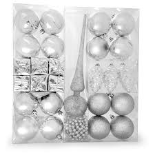 silver decorations set of 27 assorted shapes